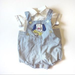 Other - Baby boy matching set puppy dog gingham blouse